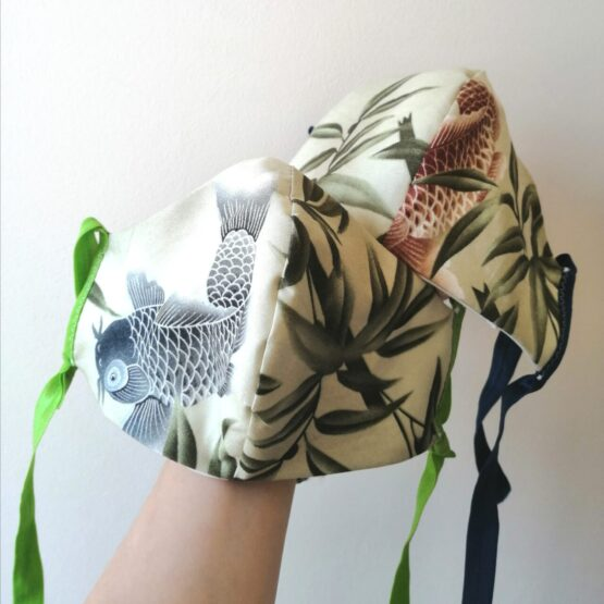 2 reusable face masks with koi fish fabric pattern