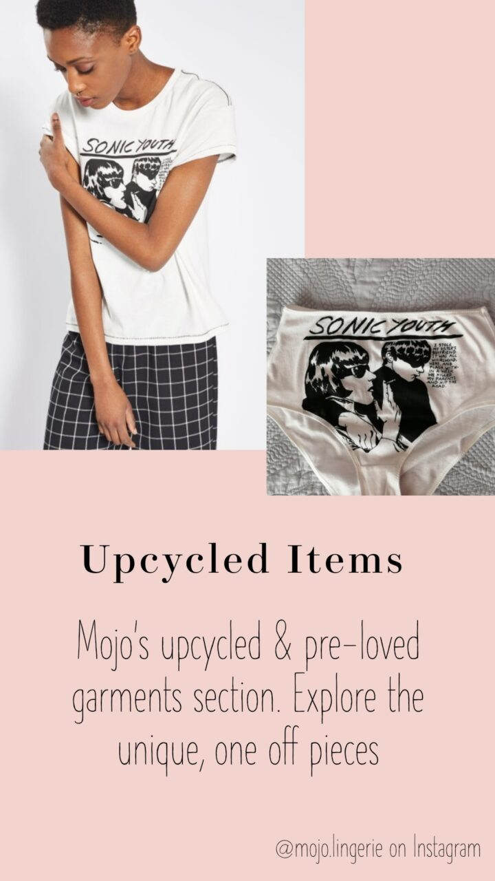 Upcycled Items. Text reads 'Mojo's upcycled and pre-loved garments section. Explore the unique, one off pieces'.