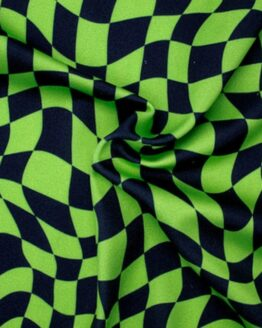 Alternating Green and Black distorted Checks fabric