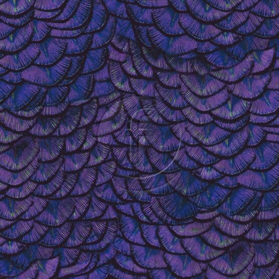 Dragon Scale fabric in purple, looks like peacock feathers with lots of colours running through