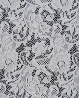 White lace fabric, it is see through in some areas and mixed with waves and flowers pattern