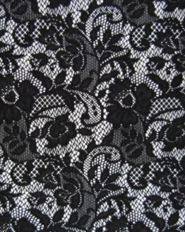 Black lace fabric, it is see through in some areas and mixed with waves and flowers pattern